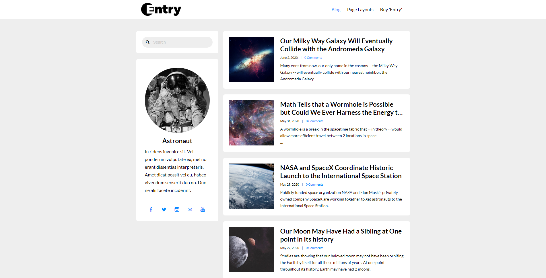 Entry Weebly Blog Theme