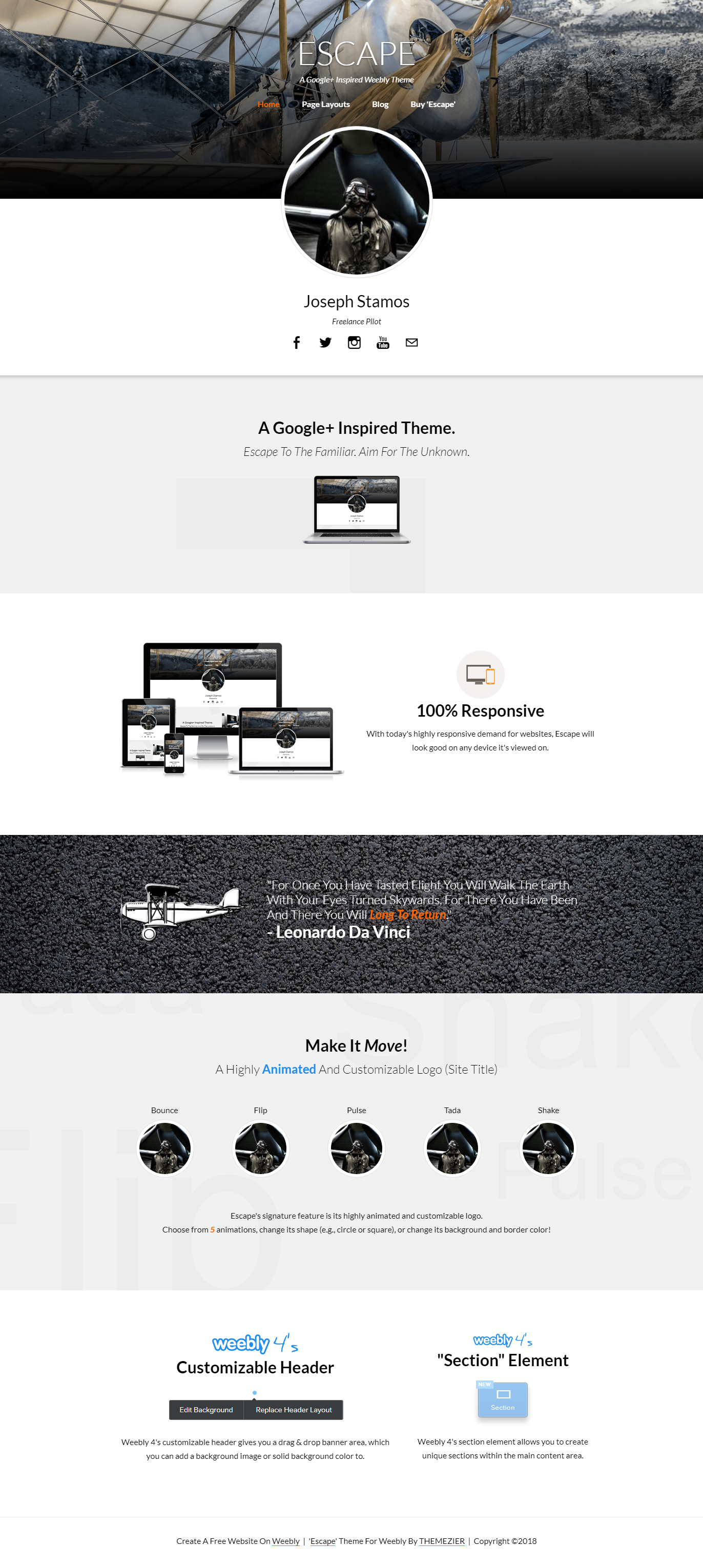 Escape Weebly Profile Theme