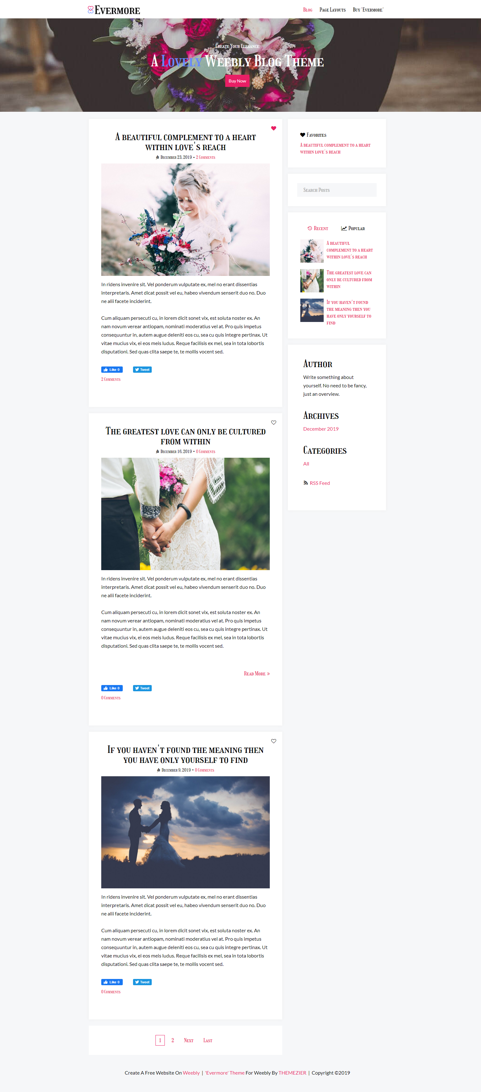 Evermore Weebly Blog Theme