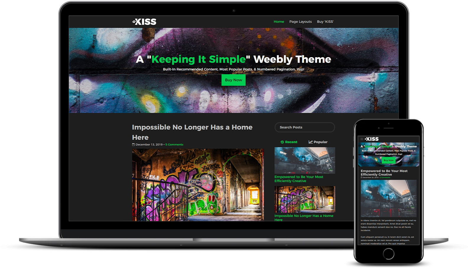 Kiss Weebly Blog Theme