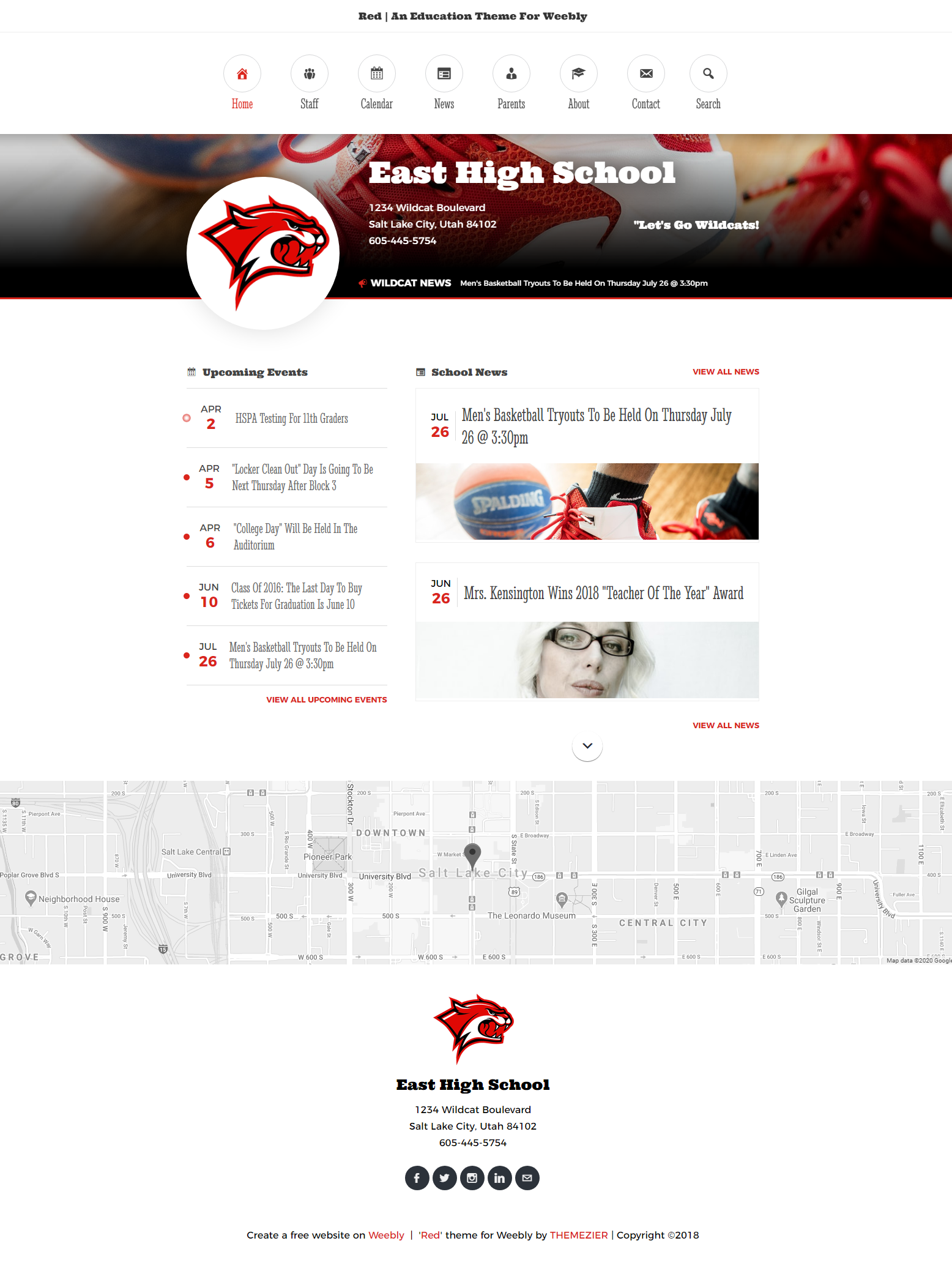 Red Weebly Education Theme